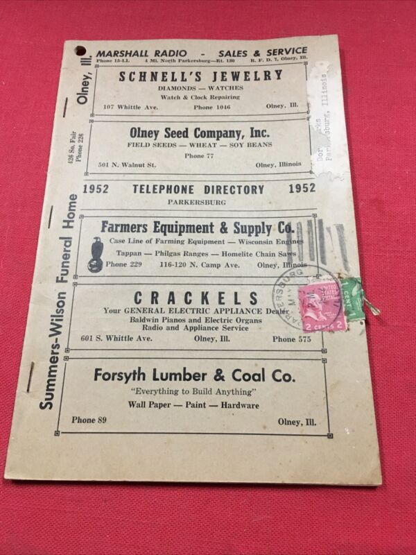 Vintage 1952 Telephone & Business Directory Olney Il, Albion Bone Gap Mt Carmel