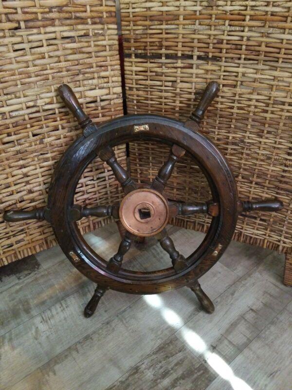 "Antique Wood / Brass / Copper  Ship Steering Wheel 24""   Maritime Decor Nautical"