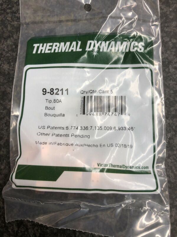 ORIGINAL THERMAL DYNAMICS PLASMA CUTTING TIP 80A 9-8211 PKG/5