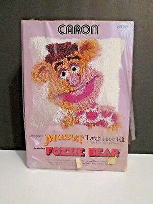 "(Vintage Caron Jim Henson Muppet Latch Hook Kit Fozzie Bear Pillow Cover 15""X15"")"