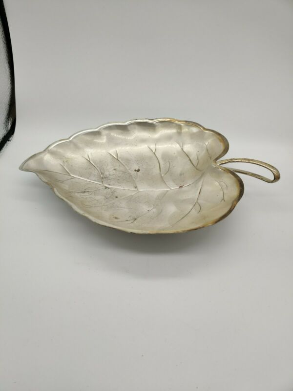 Silver Plated Pearlised Leaf Dish
