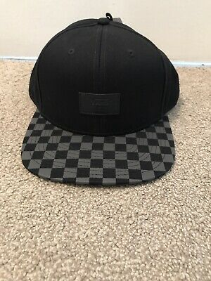 Vans Mens All Over Logo Black Snapback Cap One Size Hat Brand New Genuine