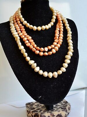 32 inches 8-9mm Single Knotted Nugget Shape Freshwater Pearl Long Necklace (Nugget Pearl Long Necklace)