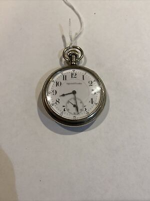 Rare 17 Jewel Adjusted 16s Double Sunk Ingersoll Trenton Railroad Pocket Watch