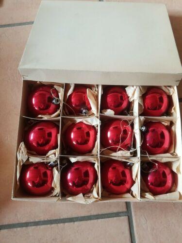 DDR, 12 Weihnachtskugeln, Christbaumschmuck, Rot, Echtglas