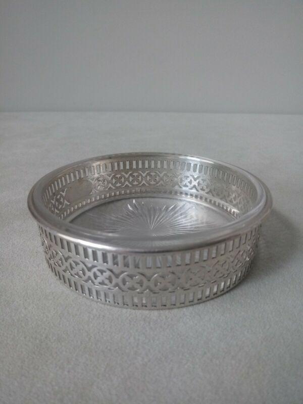 Vintage Meriden Brittania No. 1466 Sterling Silver & Glass Wine Coaster