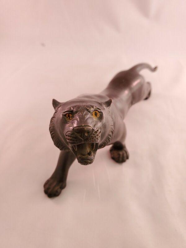 Gorgeous Vintage Japanese Bronze Tiger Sculpture