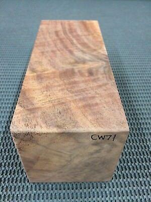 (CW-71 Curly Claro Walnut billet block turning blank knife handle game call 7.75