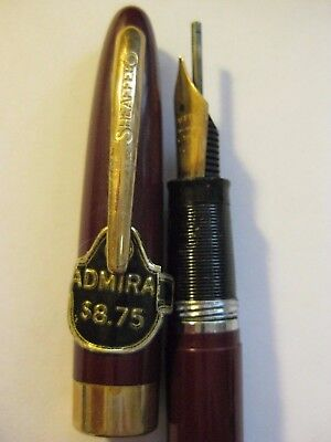 Vintage Sheaffer Snorkel Admiral Burgandy Fountain Pen with label + Sticker Med