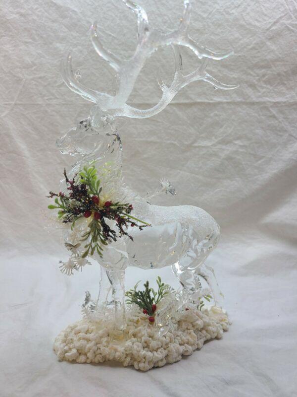 "ROMAN INC Glass Acrylic reindeer buck holiday tabletop Figurine vintage 10"""