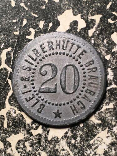 U/D Braubach Germany Blei u. Silber. 20 Pf. Private Notgeld Token (1 Coin Only)