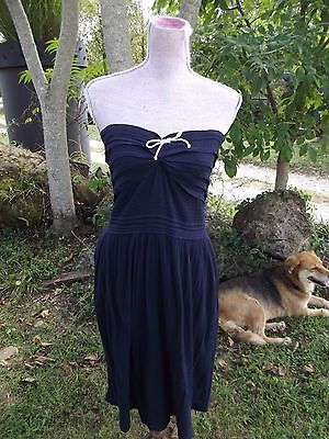 Odille Sz 6 Navy Blue Crinkled Cotton Strapless Dress Anthropologie Tie Top MINT