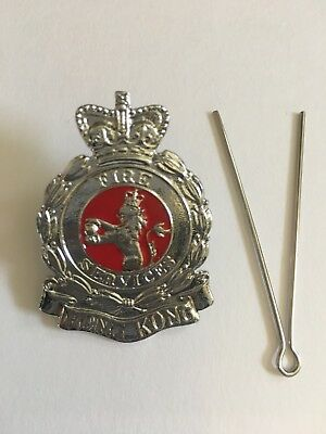 "Collectible Hong Kong Fire Service Large Chrome badge multi-color sz:1.4W""x2.0H"""