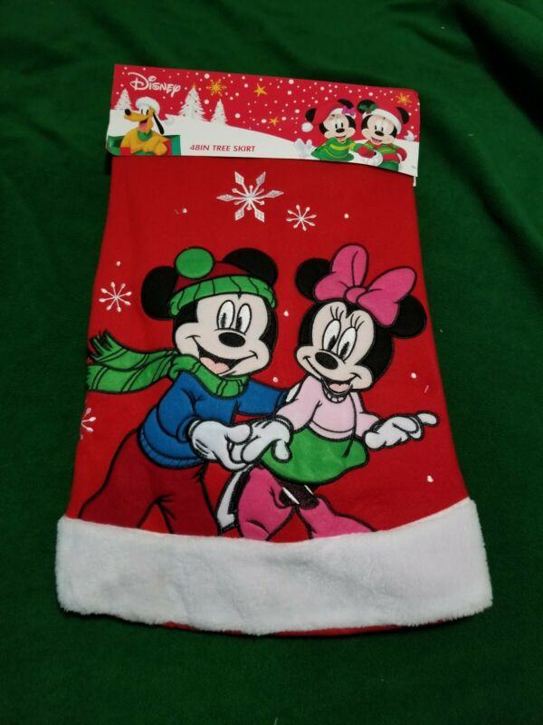 "Disney Mickey & Minnie Ice Skating 48"" Red Christmas Tree Skirt"