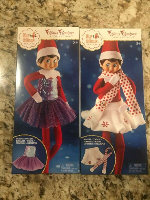 NEW Elf on the Shelf Claus Couture Sugar Plum Dress AND Snowflake Skirt & Scarf
