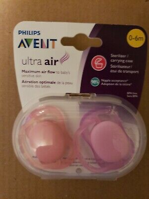Philips Avent Ultra Air Pacifier, 0-6 months, Pink- 2 pack