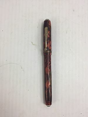 WEAREVER Supreme FOUNTAIN PEN 14k GOLD Plated Nib Red Marbled Pearl Faceted GP F