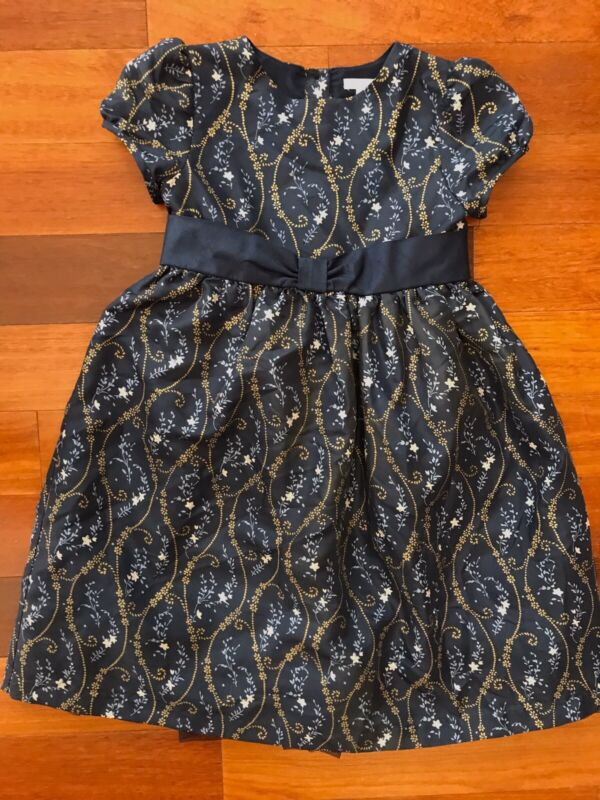 Janie and Jack Girls Special Occasion Dress Size 7  Navy Blue Colored Silk EUC