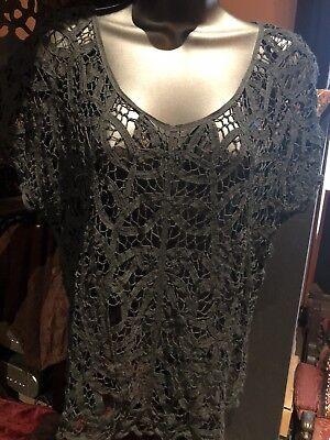Vintage Sheer Black Ribbon Lace Gothic Corset Bustier Top