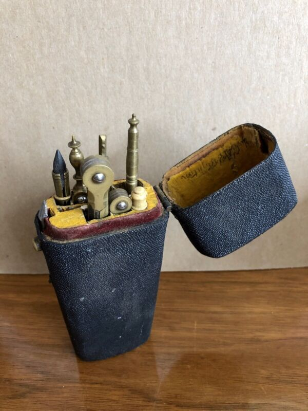 18th Century Georgian Cartographer's Shagreen Etui Tool Box, Kit, Map Making