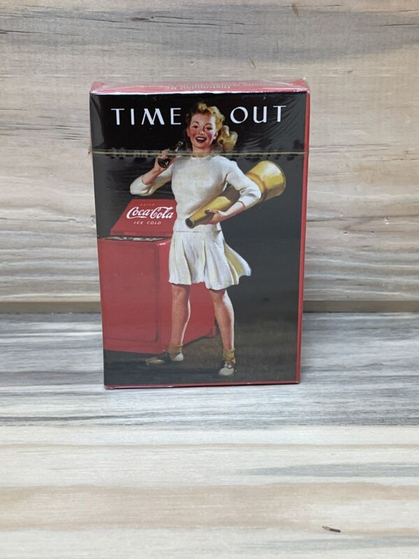 """Vintage Rare Coca Cola """"Time Out"""" Deck Playing Cards Cheerleader  NEW"""