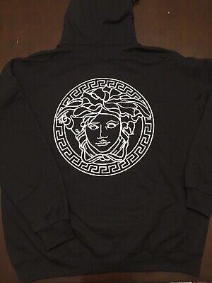 Versace Logo Hoodie Mens 2XL Black Medusa Black Vinyl Print Size 2XL