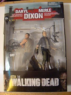 Merle and Daryl Dixon Action Figure Crossbow McFarlane The Walking Dead Set NEW!