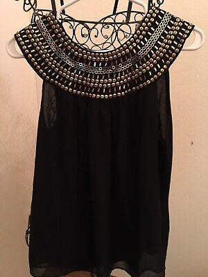 Theme Black Sheer Top With Linning And Gold Metal Trim Size L (Black And Gold Theme)