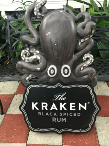 "KRACKEN Mythical BLACK SPICED RUM 3D Bar Sign "" Reduced"" 2 Sided 3ft 8"" Tall"