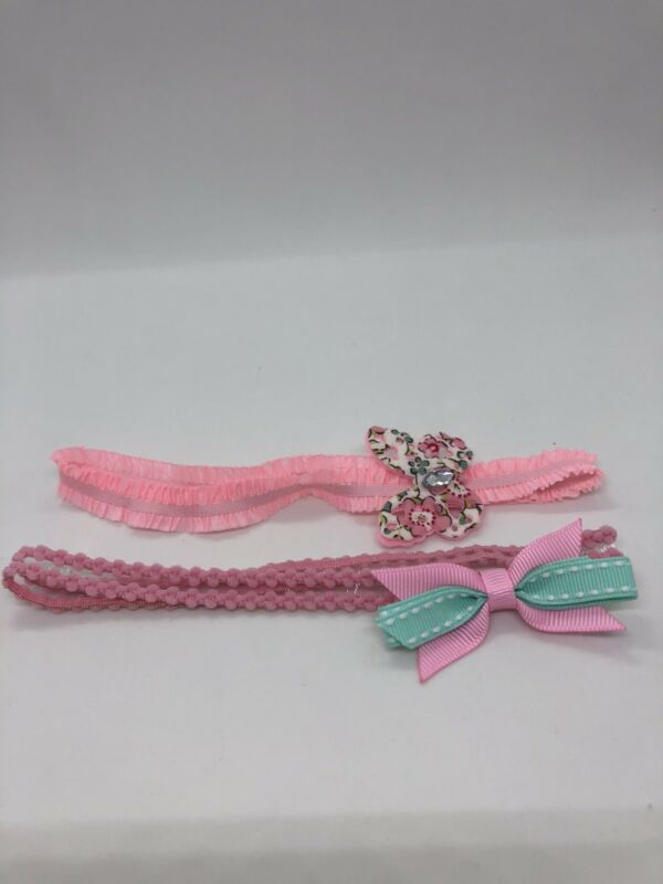 Lot of 2 Unbranded Pink Baby Girl Headbands one size Excellent condition