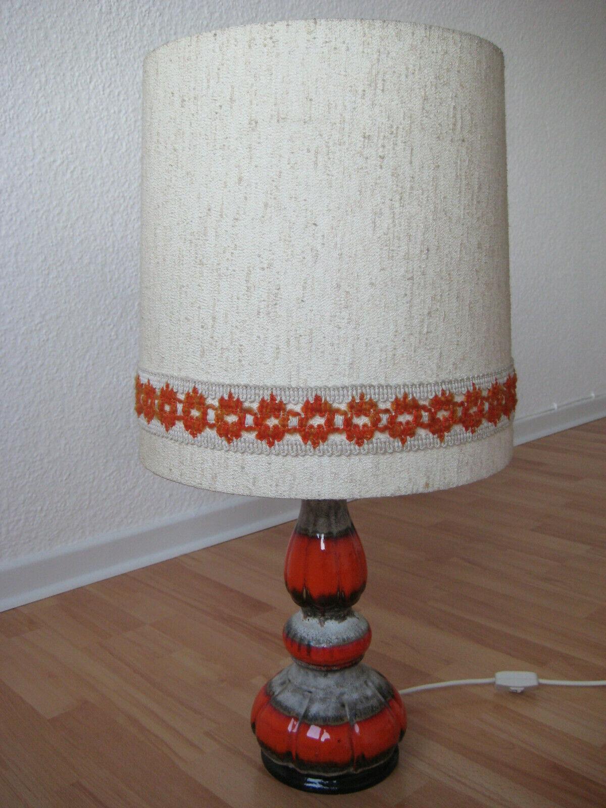 Tischlampe Stehlampe 70er Jahre Fat Lava Keramikfuß Orange HUSTADT Leuchten TOP