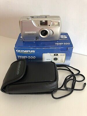 OLYMPUS TRIP 500 35mm Film Camera 28mm Lens with Case - Point and Shoot TESTED