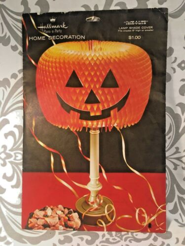 Vintage Hallmark HALLOWEEN Pumpkin Lampshade Rare Missing the Nose  HTF #383