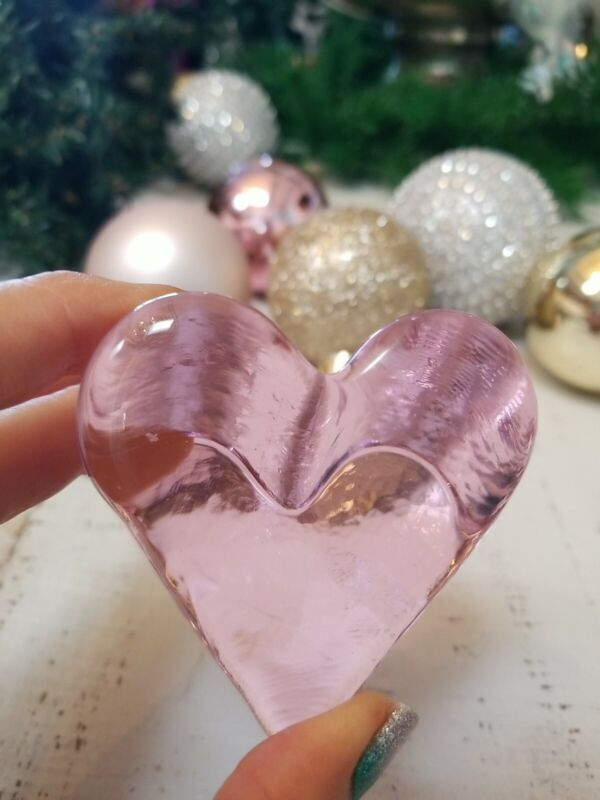 💗Fire And Light Recycled Glass Pink Heart Signed Gift Paper Weight Trinket💕