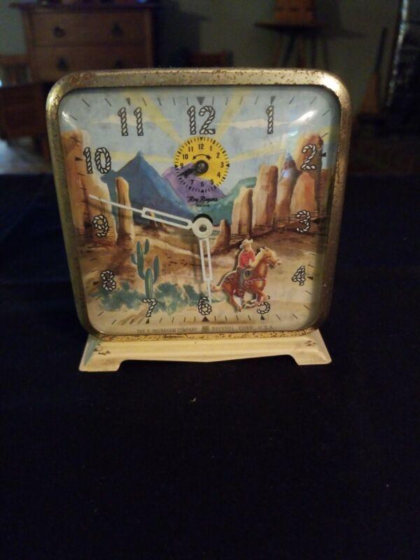 Vintage Ingraham Roy Rogers Trigger Western Alarm Clock Cowboy