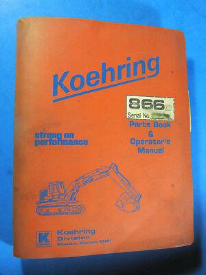 Koehring 866d Excavator Parts Operators Manual