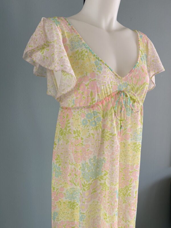 Vintage 60s 70s Silky Satin Floral Mod Ruffle Sheer Nightie Nightgown Lingerie