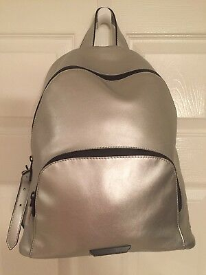 Kendall+Kylie Stylish Silver Leather Backpack, Adjustable Straps - Brand NWT