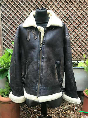 USA Vintage Flying Aviator leather & Shearling jacket size XXlarge 52""
