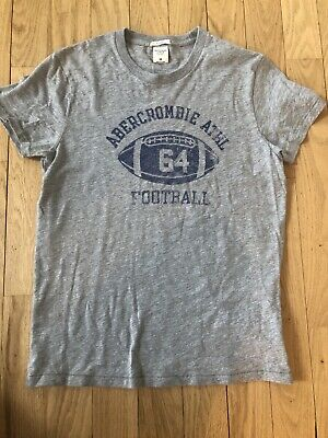 Abercrombie & Fitch Mens Gray Football T-shirt Size M New