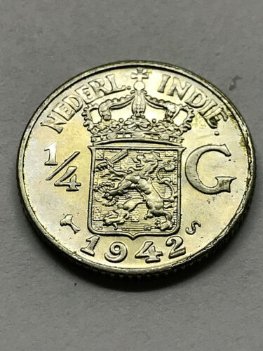1942-S Netherlands/East Indies 1/4 Gulden Silver AU #9913