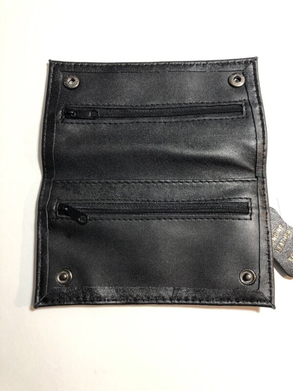 Black Full Leather Tobacco Pouch w/ Rolling Paper Slot & 3 Zippers,Snap close