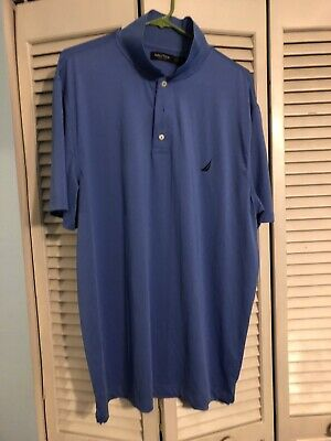 Nautica Mens Size XL Short Sleeve Polo Shirt Light Blue Solid EUC
