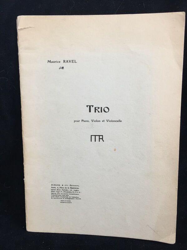 RAVEL - Piano Trio - Durand & Cie - MINI SCORE (dated 1962, Fontainebleau)