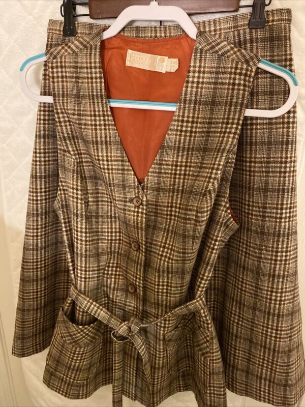 Vintage 70s Pendleton Womens Suit Size 16 Plaid Wool Skirt Vest Brown/tan