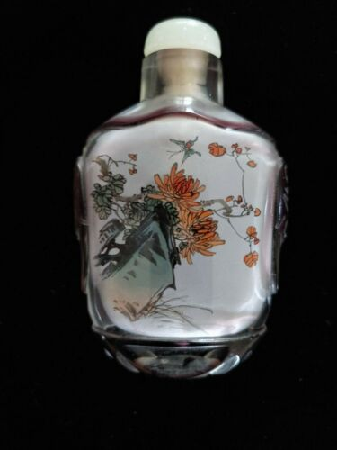 Vintage Chinese Inside Painted cut Crystal Snuff Bottle Signed w/ Box