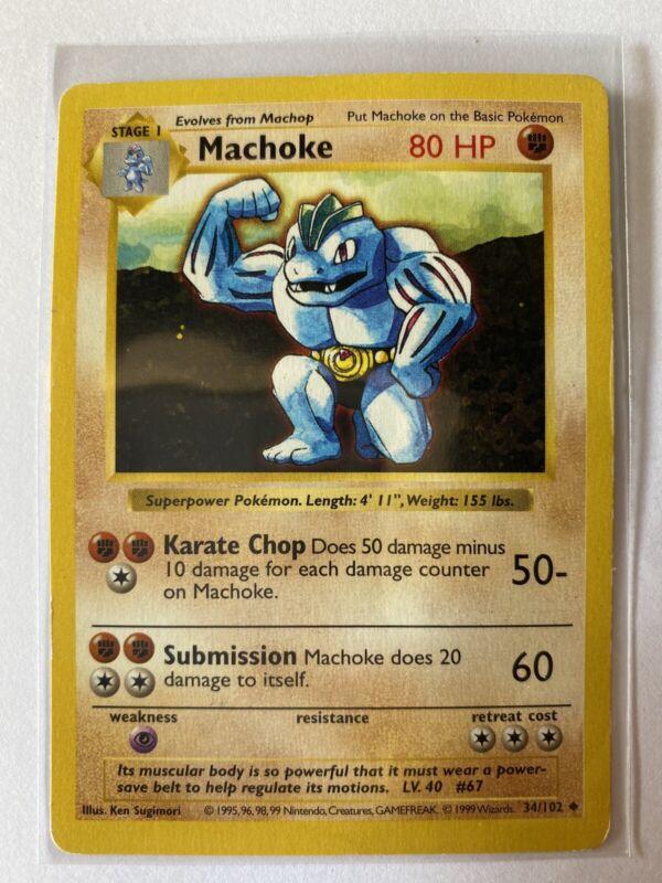 Pokemon Unlimited Base Set Common Machop 52//102 Mint Condition