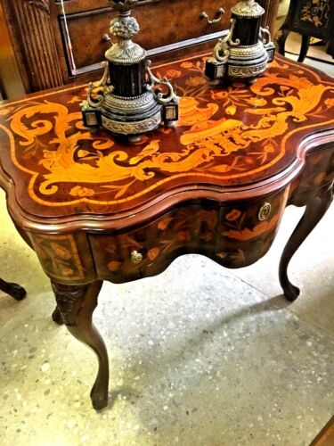 Inlaid Italian Side Table/   one of a pair available