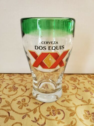 LOT OF (2) DOS EQUIS CERVEZA XX GREEN RIM BLOWN GLASS WITH AIR BUBBLES PINT