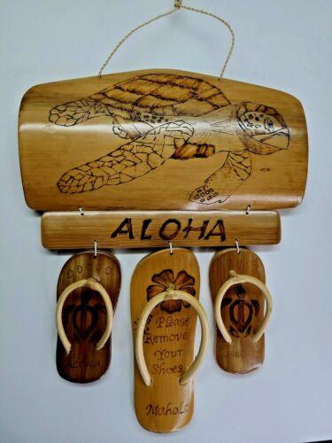 Hawaiian Hand Made Bamboo Wall Sign Hawaii Aloha Island